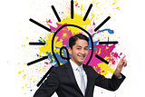 Composite image of smiling businessman pointing