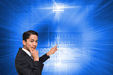 Composite image of asian businessman pointing