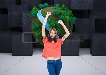 Composite image of teenage wearing casual clothes while raising her arms