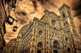 View of Florence Duomo cathedral and street clock, vintage style