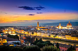 Scenic view of Florence after sunset from Piazzale Michelangelo