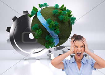 Composite image of businessswoman with hand on her head