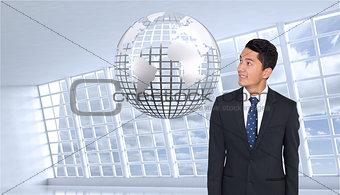 Composite image of smiling businessman