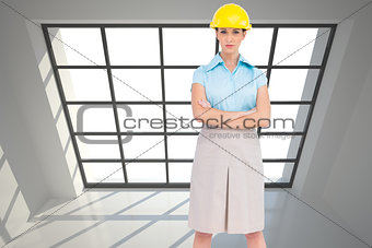 Composite image of serious architect posing