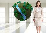 Composite image of businesswoman walking