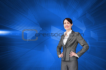 Composite image of customer service agent with headset on