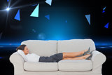 Composite image of businesswoman lying down on the couch