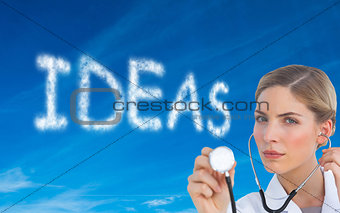 Composite image of nurse listening with stethoscope