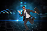 Composite image of businessman in a hurry