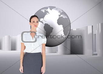 Composite image of businesswoman posing