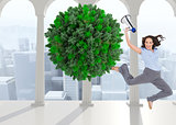 Composite image of cheerful businesswoman jumping while holding megaphone