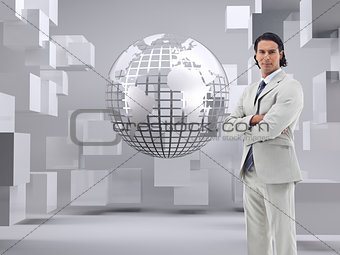 Composite image of office worker posing with the arms crossed