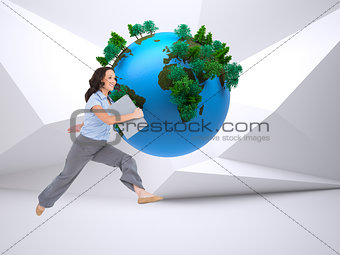 Composite image of classy businesswoman jumping while holding clipboard