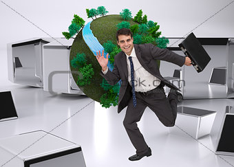 Composite image of businessman in a hury