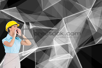 Composite image of architect shouting