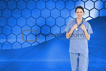 Composite image of smiling medical intern wearing a blue short-sleeve uniform
