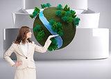 Composite image of businesswoman raising her hand