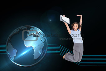 Composite image of happy businesswoman jumping while holding clipboard
