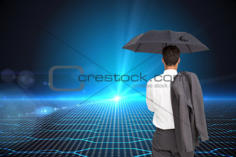 Composite image of businessman standing holding umbrella and jacket on shoulder