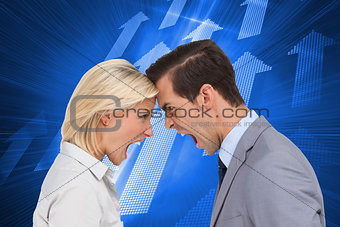 Composite image of colleagues head against head