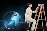 Composite image of businesswoman climbing career ladder