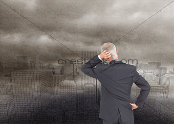 Composite image of rear view of doubtful businessman
