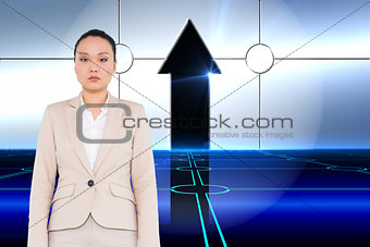 Composite image of unsmiling businesswoman