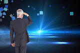 Composite image of rear view of businessman looking away