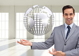 Composite image of businessman presenting