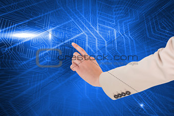 Composite image of woman pointing
