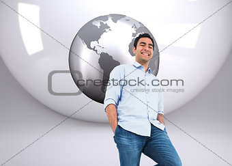 Composite image of smiling man standing