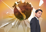 Composite image of businessman against earth floating before abstract background
