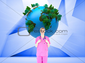 Composite image of young female surgeon holding a stethoscope