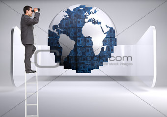 Composite image of businessman on ladder using binoculars