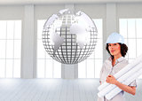 Composite image of woman holding construction plans