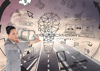 Composite image of thinking asian businesswoman pointing