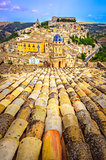 Vertical view of roofs and beautiful village Ragusa in Sicily