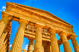 Ruins of ancient temple front pillars in Agrigento, Sicily