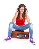 Student girl on retro radio