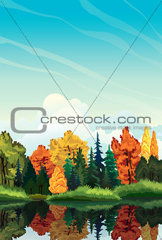 Autumn landscape with trees and lake.