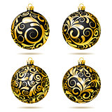 Set of Black and gold Christmas balls