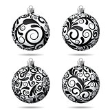 Set of Black and white Christmas balls