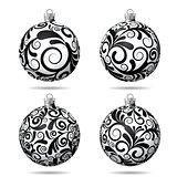 Set of Black and white Christmas balls