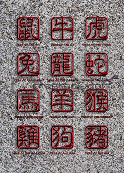 12 Chinese Zodiac Animals Stone Signs