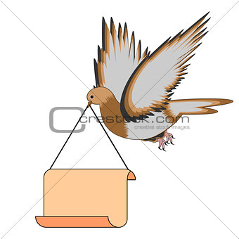 A flying pigeon holding a big blank paper in his beak