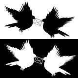 Monochrome silhouette of two flying doves with a letter