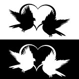 Monochrome silhouette of two flying doves and a heart