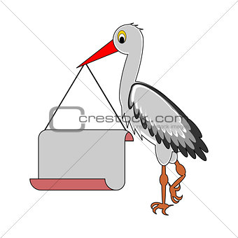 A stork holding a big blank paper in his beak