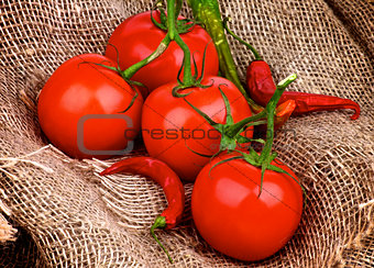 Tomatoes and Chili Peppers
