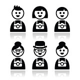 Tourist, travelling people with cameras icons set
